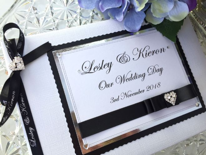 Personalised Wedding Guest Book - Black & White